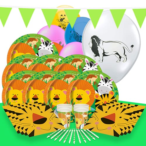 Jungle Animals Theme 8 Person Delux Party Pack