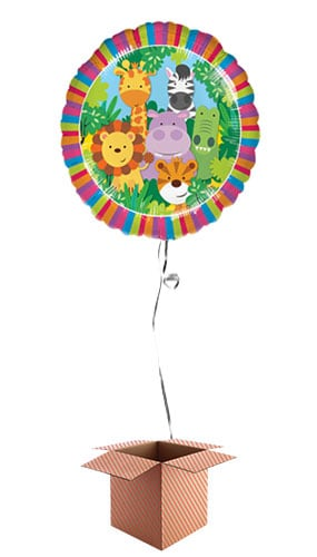 Jungle Friends Round Foil Balloon - Inflated Balloon in a Box Product Image