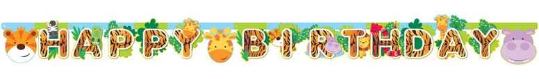 Jungle Party Happy Birthday Cardboard Jointed Letter Banner 170cm Product Image