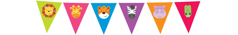 Jungle Party Plastic Pennant Bunting 4m