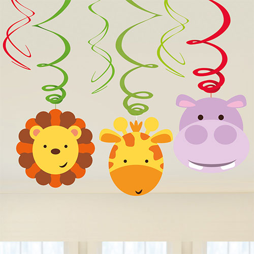 Jungle Party Hanging Swirl Decorations - Pack of 6 Product Image