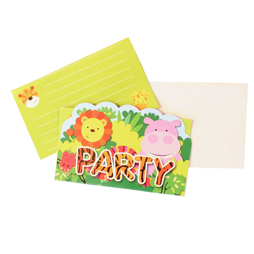 Jungle Party Stand-up Invitations with Envelopes - Pack of 8