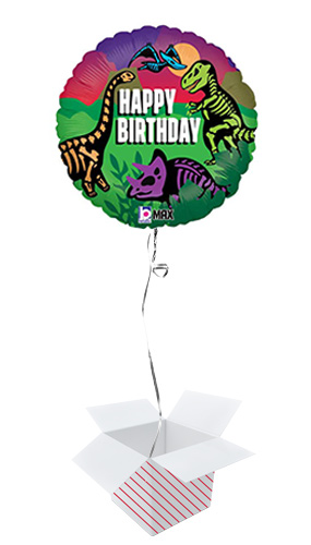 Jurassic Dinosaurs Birthday Round Foil Helium Balloon - Inflated Balloon in a Box