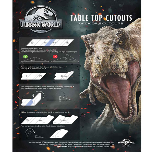 Jurassic World Dinosaur Table Top Cutout Decorations - Pack of 8 Product Gallery Image