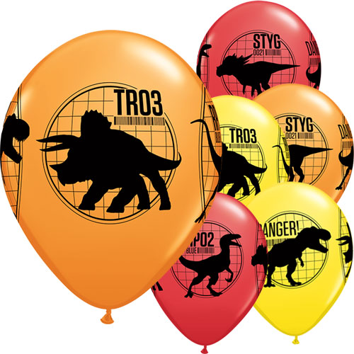 Jurassic World Fallen Kingdom Dinosaurs Assorted Latex Helium Qualatex Balloons 28cm / 11 in - Pack of 25 Product Image