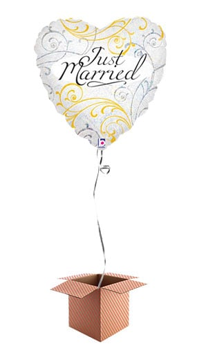 Just Married Heart Shape Foil Balloon - Inflated Balloon in a Box Product Image
