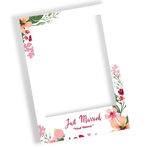 Just Married Multi Colour Flowers Personalised Selfie Frame Photo Prop
