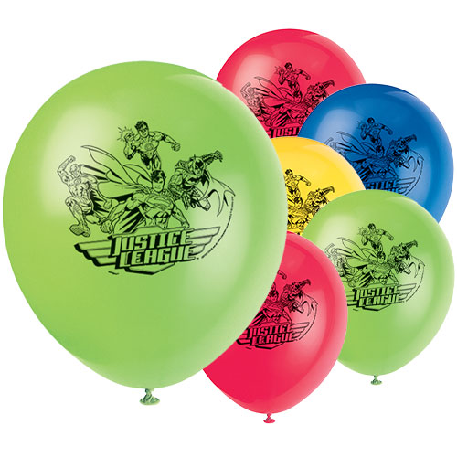 Justice League Assorted Biodegradable Latex Balloons 30cm / 12 in - Pack of 8
