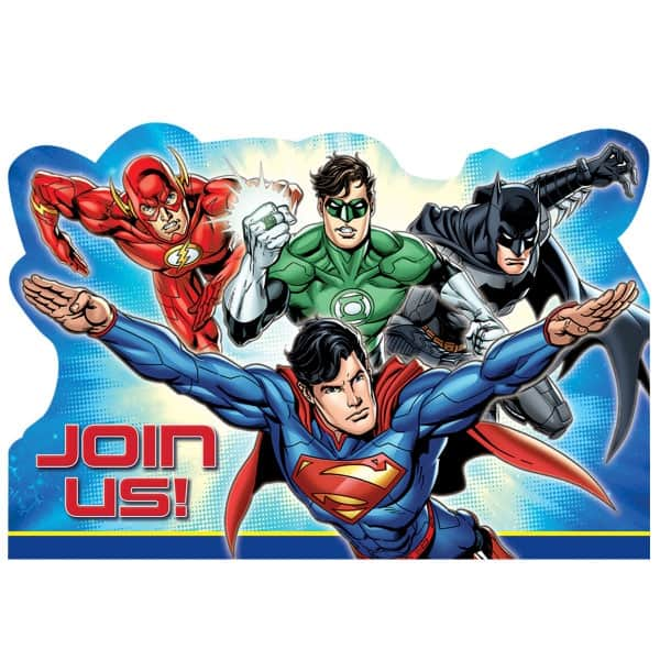 Justice League Invitations With Envelopes - Pack of 8