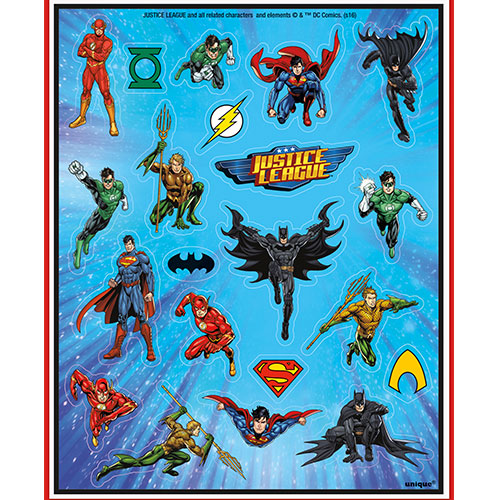 Justice League Sticker Sheets - Pack of 4
