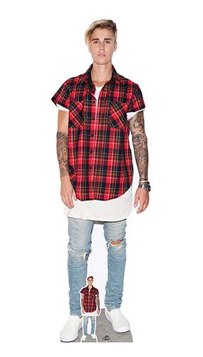 Justin Bieber Red Shirt Lifesize Cardboard Cutout - 172cm Product Image