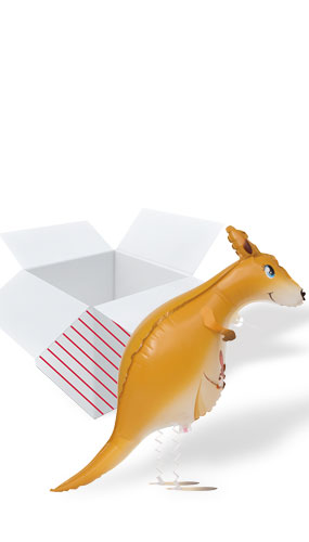 Kangaroo Walking Pet Foil Helium Balloon - Inflated Balloon in a Box Product Image