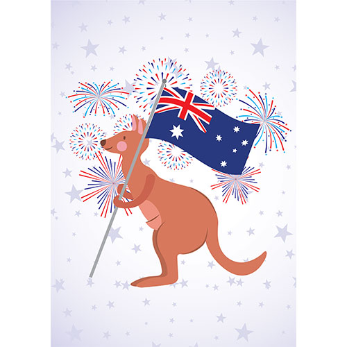 Kangaroo With Australian Flag A2 Poster PVC Party Sign Decoration 59cm x 42cm Product Gallery Image