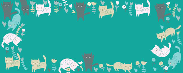 Kawaii Cats And Flowers Design Large Personalised Banner - 10ft x 4ft