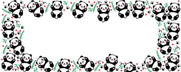 Kawaii Cute Panda Design Medium Personalised Banner - 6ft x 2.25ft