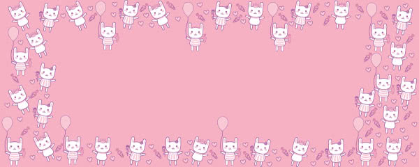 Kawaii Kittens Balloons And Hearts Design Small Personalised Banner - 4ft x 2ft