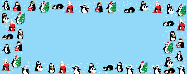 Kawaii Penguins Winter Design Small Personalised Banner - 4ft x 2ft