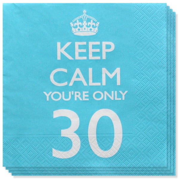 Keep Calm Theme 30th Birthday 2 Ply Paper Napkins - 13 Inches / 33cm - Pack of 20