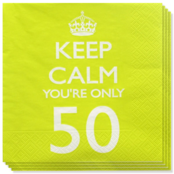 Keep Calm Theme 50th Birthday 2 Ply Paper Napkins - 13 Inches / 33cm - Pack of 20