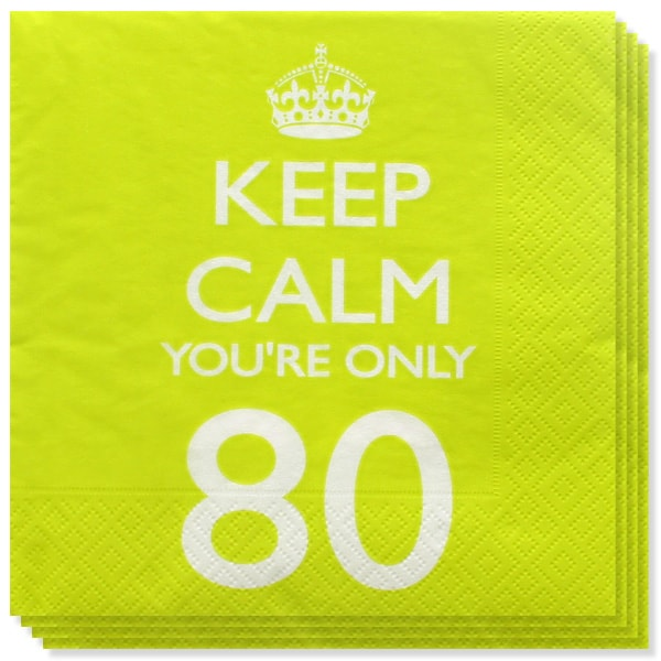 Keep Calm Theme 80th Birthday 2 Ply Paper Napkins - 13 Inches / 33cm - Pack of 20