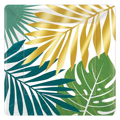 Key West Leaves Square Metallic Paper Plates 26cm - Pack of 8