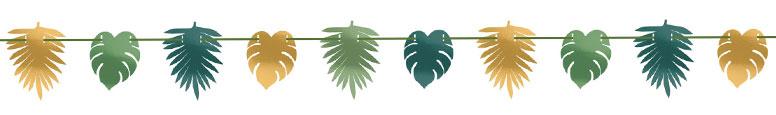 Key West Metallic Leaves Garland Banner Decoration 3.65m Product Image