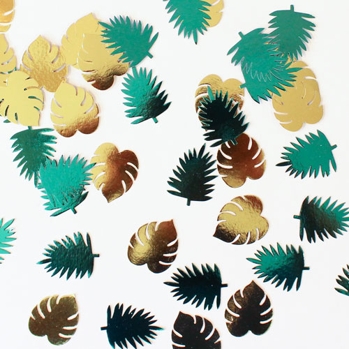 Key West Metallic Leaves Paper Table Confetti Cutouts - Pack of 48