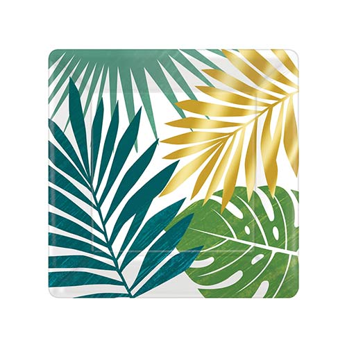 Key West Leaves Square Metallic Paper Plates 18cm - Pack of 8