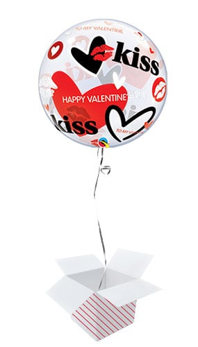 Kisses And Hearts Valentines Bubble Helium Qualatex Balloon - Inflated Balloon in a Box Product Image