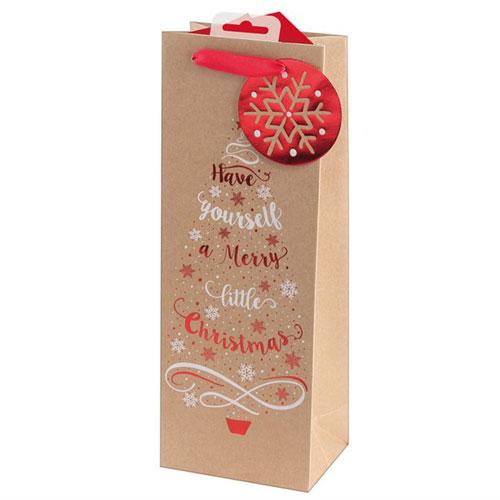 Metallic Kraft Tree & Text Christmas Bottle Gift Bag 36cm Product Image