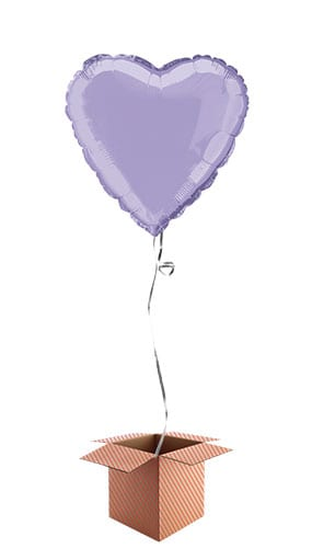Lavender Heart Shape Foil Balloon - Inflated Balloon in a Box