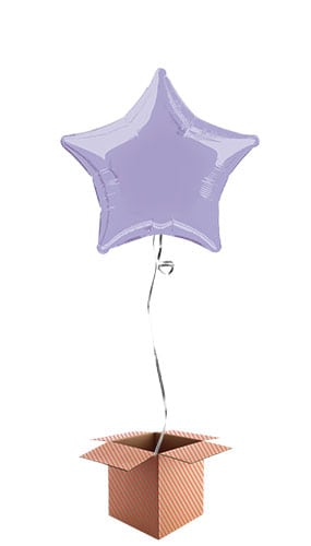Lavender Star Shape Foil Balloon - Inflated Balloon in a Box Product Image