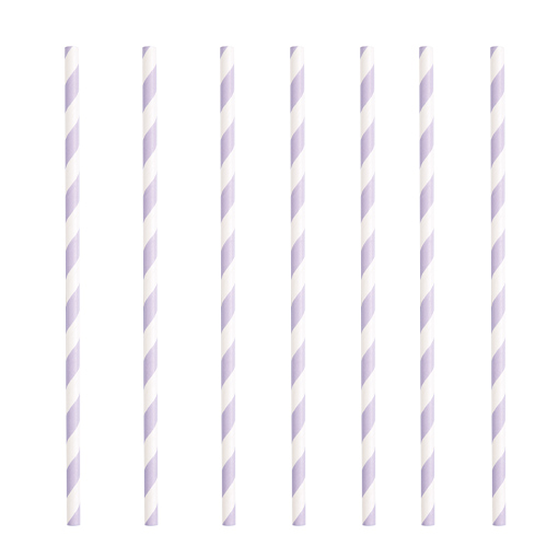 Lavender Striped Eco-Friendly Paper Straws - Pack of 10