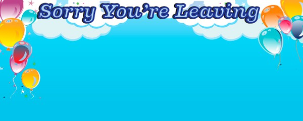 Sorry You Are Going Clouds and Balloons Design Small Personalised Banner- 4ft x 2ft