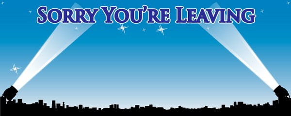 Sorry You're Leaving Us Hollywood Design Small Personalised Banner- 4ft x 2ft