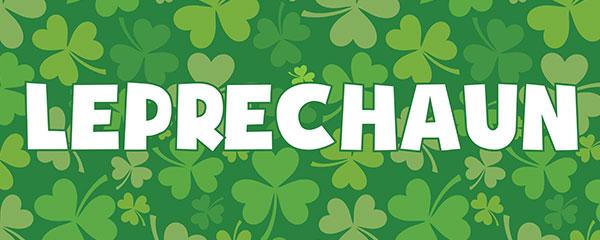 Leprechaun St. Patrick's Day Shamrock PVC Party Sign Decoration 60cm x 25cm Product Image