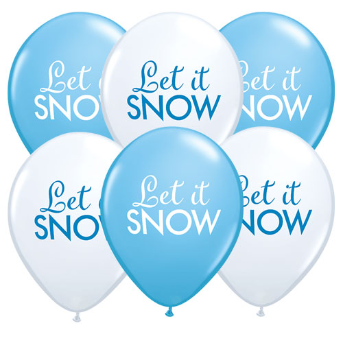 Assorted Let It Snow Christmas Latex Qualatex Balloons 28cm / 11 in – Pack of 6 Product Image