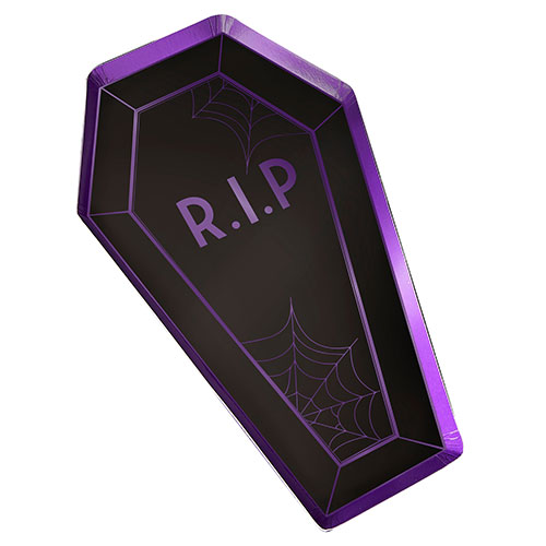 Let's Get Batty Black And Purple Foiled Coffin Shaped Halloween Paper Plates 30cm - Pack of 8