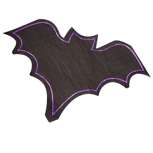 Let's Get Batty Purple Foiled Bat Shaped Halloween Paper Napkins 22cm x 15cm - Pack of 16