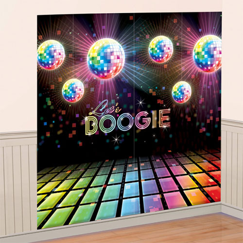 Let's Boogie Disco Backdrop Scene Setter Add-On Wall Decorating Kit Product Image