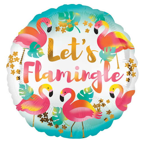 Lets Flamingle Round Foil Helium Balloon 43cm / 17Inch Product Image