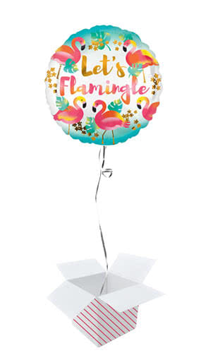 Lets Flamingle Round Foil Helium Balloon - Inflated Balloon in a Box