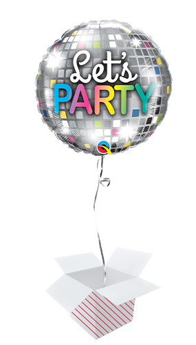 Let's Party Disco Ball Helium Foil Qualatex Balloon - Inflated Balloon in a Box Product Image