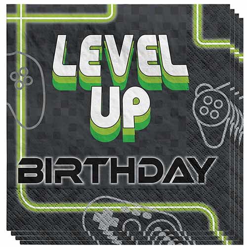Level Up Gaming Birthday Luncheon Napkins 33cm 2Ply - Pack of 16