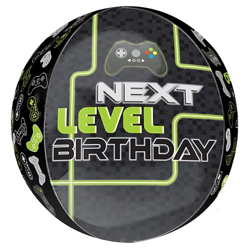 Level Up Birthday Orbz Foil Helium Balloon 38cm / 15 in