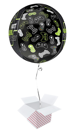 Level Up Birthday Orbz Foil Helium Balloon - Inflated Balloon in a Box Product Gallery Image