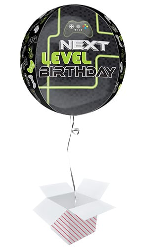 Level Up Birthday Orbz Foil Helium Balloon - Inflated Balloon in a Box Product Image
