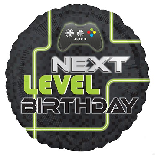 Level Up Gamer Birthday Round Foil Helium Balloon 43cm / 17 in Product Image