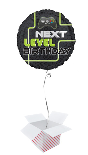 Level Up Gamer Birthday Round Foil Helium Balloon - Inflated Balloon in a Box Product Image