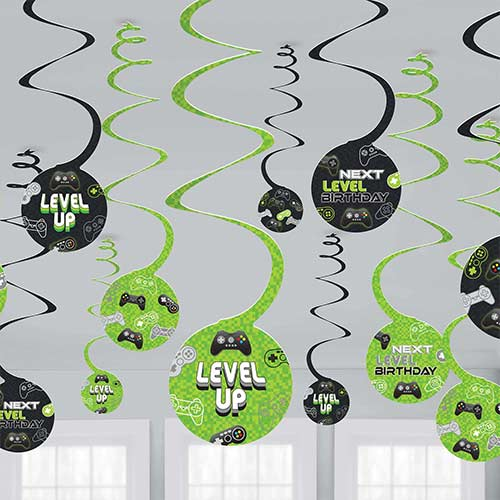 Level Up Gaming Hanging Swirl Decorations - Pack of 12 Product Image